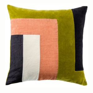 Geo block cushion cover in green and pink from conran shop