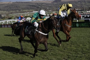 Buveur D'Air ridden by Barry Geraghty wins the Champion Hurdle.