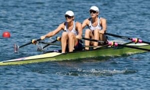 Katherine Grainger and Victoria Thornley in action during the women's double sculls heats at Rio 2016.