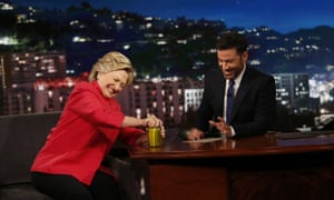 Hillary Clinton opens a pickle jar on Jimmy Kimmel Live as she answers 'wacky' rumors about her health from the Trump campaign.