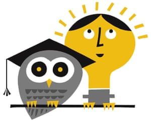 Illustration of an owl in a mortarboard and a woman's head like a lightbulb