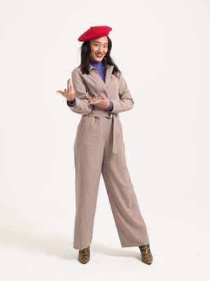 Model wears beige  jumpsuit, £59.99, hm.com. purple jumper, £34, urbanoutfitters.com. red beret, £10, topshop.com. brown animal print ankle boots, £325, mango.com.    Fashion assistant: Penny Chan. Hair: Rose Angus at S Management using Paul Mitchell, and Shukeel Murtaza using Bumble and bumble. Makeup: Sophie Higginson using Kiehl's and Mac Cosmetics, and Delilah Blakeney using Nars. Models: Sylviane and Kelly at Mrs Robinson, Rudie and Marina at Bookings, Ji Won at Milk.