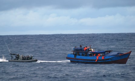 Australian Navy boarding crew approaching a vessel carrying asylum seekers southeast of Christmas Islandin 2010.