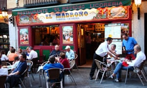 Madrileños meet near the Spanish capital's Plaza Mayor to enjoy a two- or three-hour lunch before heading back to work.