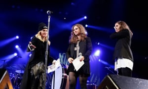 Madonna introduces Alyokhina and Tolokonnikova during an Amnesty concert in New York in 2014.