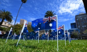 Australian flags at Parliament Gardens in Melbourne to honour the 791 people who died of Covid in Victoria's second wave.