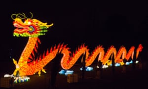 A light sculpture in the form of a dragon