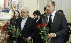 Iran's foreign minister, Mohammad Javad Zarif, and his Russian counterpart Sergei Lavrov lay flowers in Ankara.