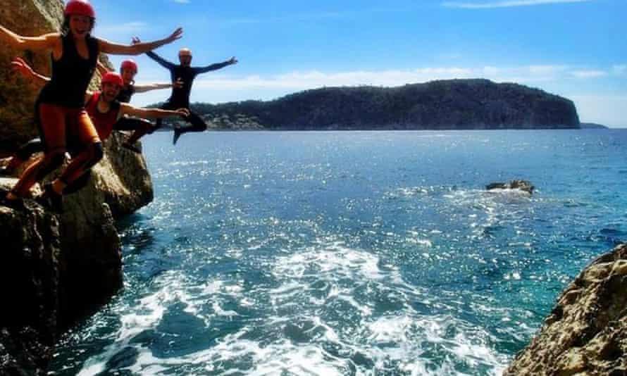 People coasteering in Mallorca