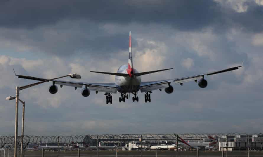 A plane landing at Heathrow