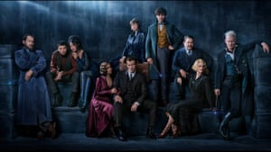 Spot of bother … the cast of Fantastic Beasts: The Crimes of Grindelwald, with Jude Law as Dumbledore (far left) and Johnyy Depp as Grindelwald (far right).