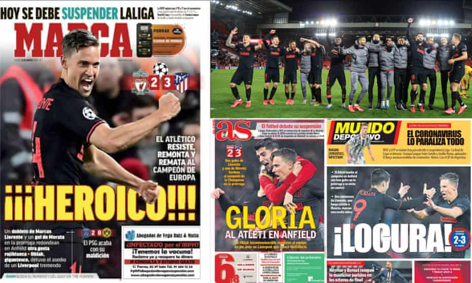 Atletico players celebrate their 3-2 victory over Liverpool to take them through to the Champions League quarter-finals (top right) and how the victory was reported in the Spanish press.
