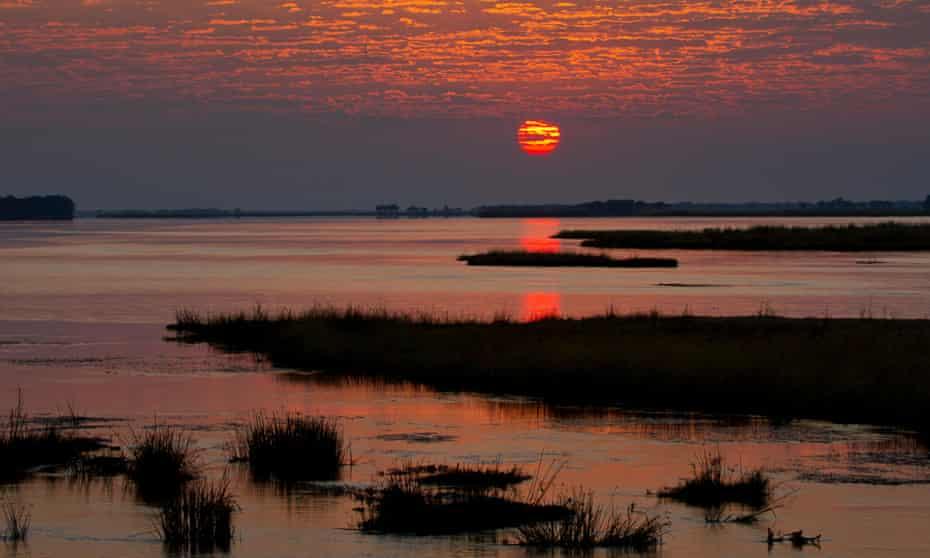 Sunrise over the Zambezi River, Zambia.