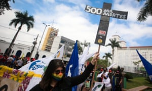 A protest against the government in Cuiaba, Brazil