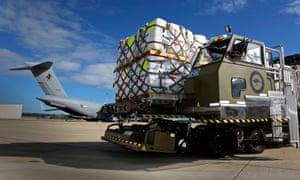 Australian aid going on to plane