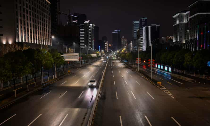 A nearly empty main road in Wuhan