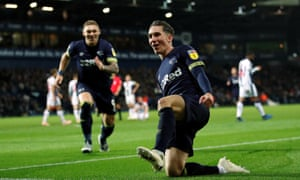 Derby County's Harry Wilson celebrates scoring their third goal in the 4-1 win at the Hawthorns.
