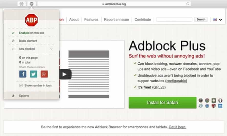 An adblocker, which boasts of letting users 'surf the web without annoying ads'