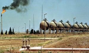 An oil refinery in Iraq's oil rich region of Kirkuk, 1991.