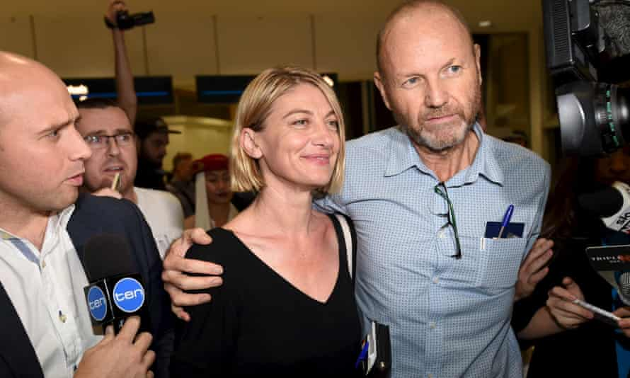 60 minutes presenter Tara Brown and producer Stephen Rice arrive at Sydney airport following their release from jail in Beirut.