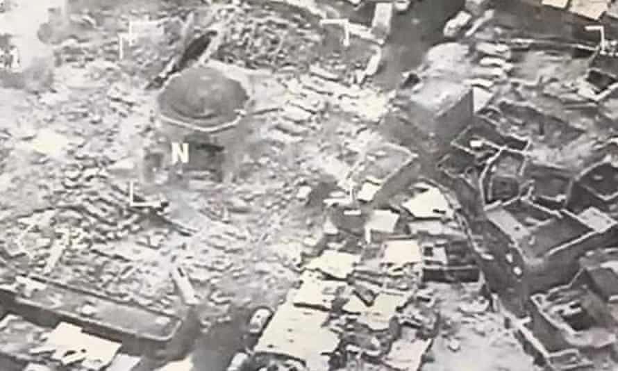 Destroyed remains of the Great Mosque of al-Nuri in Mosul, Iraq.