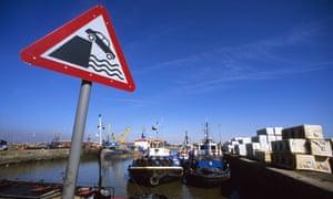 A warning sign at the port of Hull, UK.
