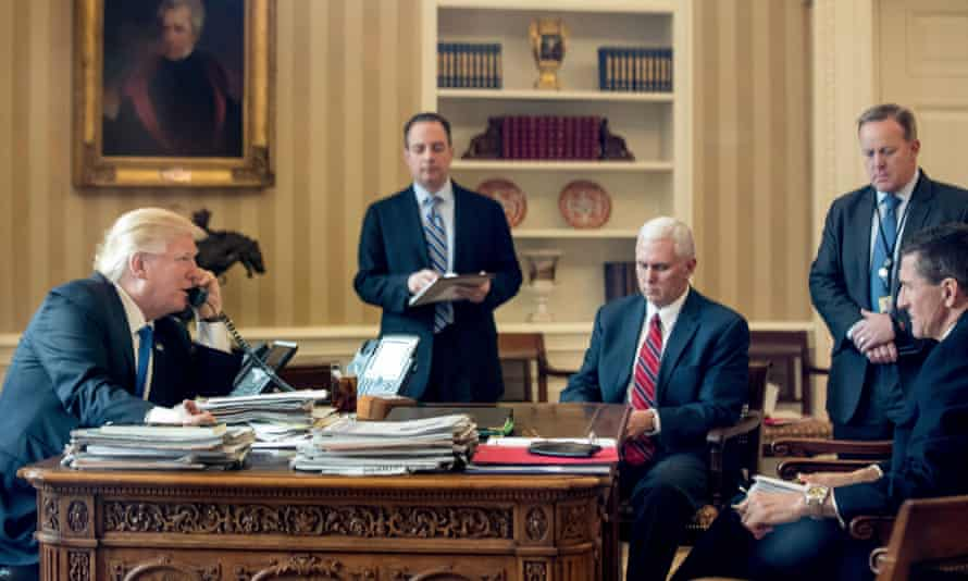 In the Oval Office, from left, Donald Trump, Reince Priebus, Mike Pence, Sean Spicer and Michael Flynn, featured in The Trump Show.