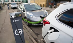 Charging electric cars on a street, Salford