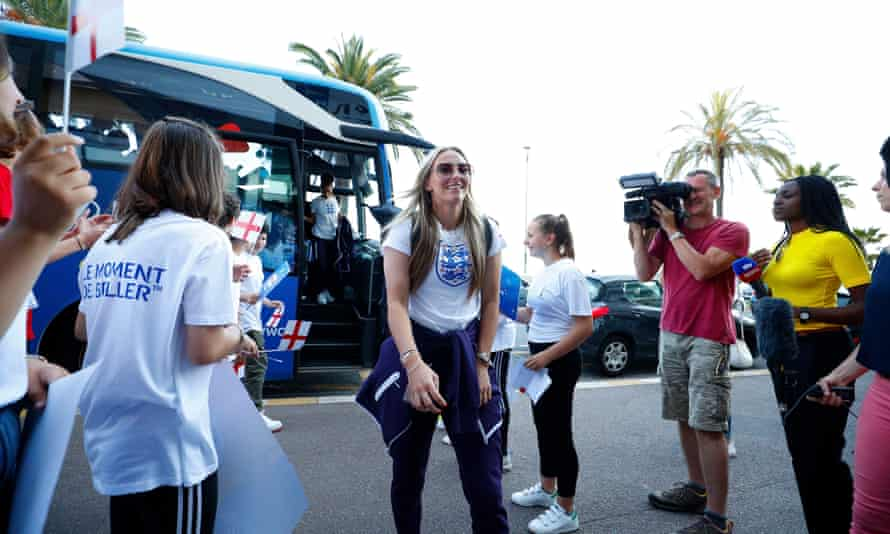 Toni Duggan of England is welcomed to the team hotel in Nice.