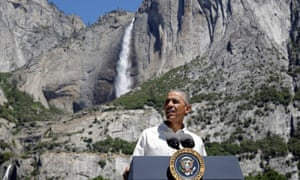 Barack Obama speaks about the National Park Service at Yosemite national park in California.