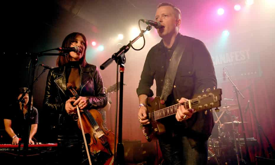 Jason Isbell and Amanda Shires perform at the Americana music festival and conference in Nashville, Tennessee on 12 September.