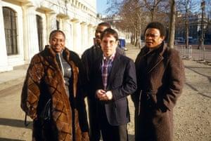 Masekela with Paul Simon, Ray Phiri, Miriam Makeeba at the ICA in London, 1987