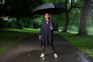 Poet, writer and artist Malika Booker photographed in Potternewton Park in Leeds, Yorkshire.