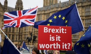 Pro- and anti-Brexit protests outside the Houses of Parliament