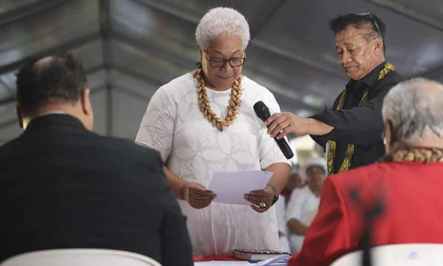 Fiame took her oath at an unofficial ceremony outside parliament house in Apia after she was locked out of parliament and the previous leader claimed he remained in charge.