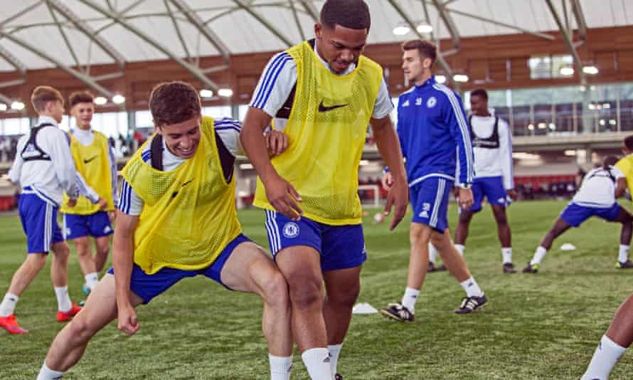 Members of Chelsea's Under-17 squad during their session at St George's Park