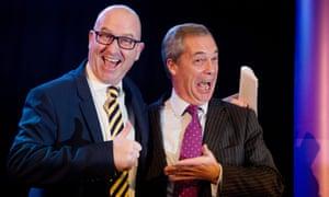 Paul Nuttall and his predecessor, Nigel Farage.