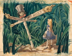 A scene from art director David Hall's 1939 treatment for Alice in Wonderland (1951).