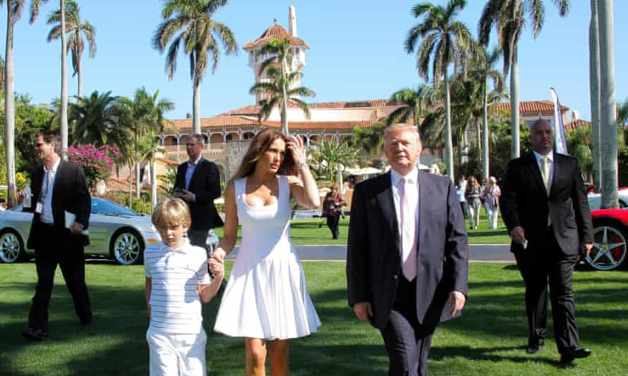 Donald Trump with Melania and Barron at Mar-a-Lago in Florida in January 2013.