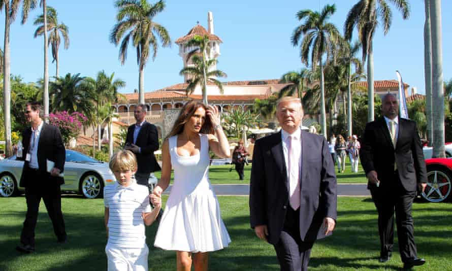 Second home ... Trump with wife Melania and son Barron at Mar-a-Lago.
