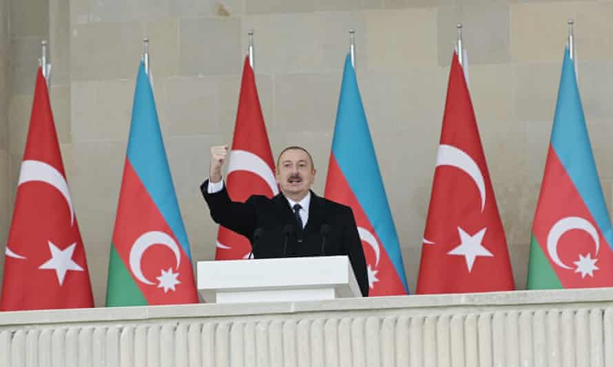 The Azerbaijani president, Ilham Aliyev, who in 2016 praised Benjamin Netanyahu for Israel's close cooperation with Baku on defence industries