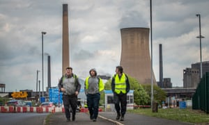 Workers leaving the steelworks in Scunthorpe