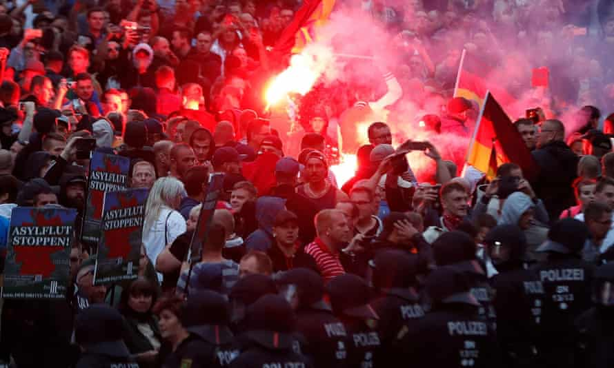 Flares set off in crowd of protesters