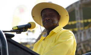 Yoweri Museveni addresses supporters during a rally ahead of Uganda's elections
