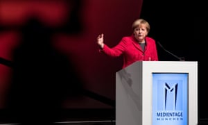 Angela Merkel at the media conference in Munich on Tuesday.