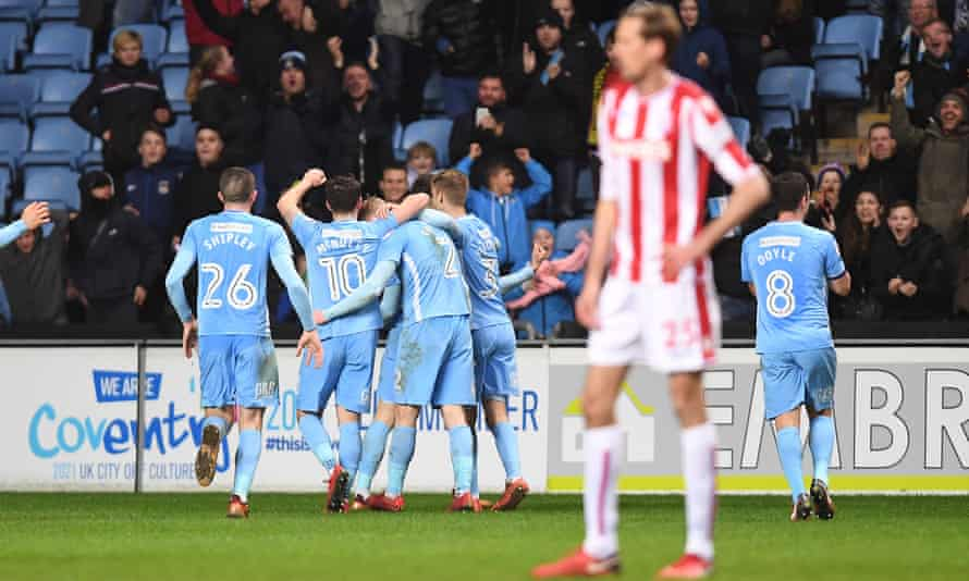 Jack Grimmer of Coventry City celebrates after scoring his side's second goal in the FA Cup third round.