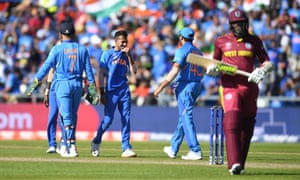 Yuzvendra Chahal of India celebrates after taking the wicket of Sheldon Cottrell of West Indies.