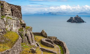 """""""Remains of the medieval Gaelic Christian monastery on Skellig Michael, with view to Little Skellig. The two Skellig Islands are off the coast of Ivera<br>KACDMP Remains of the medieval Gaelic Christian monastery on Skellig Michael, with view to Little Skellig. The two Skellig Islands are off the coast of Ivera"""""""