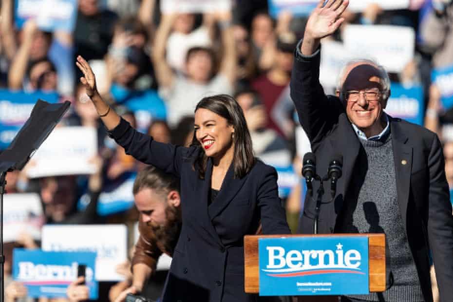 "U.S. Representative Alexandria Ocasio-Cortez & U.S. Senator Bernie Sanders on stage at Bernie Sanders Rally ""Bernie's Back"" in Queensbridge Park. She endoreses him for President of USA."