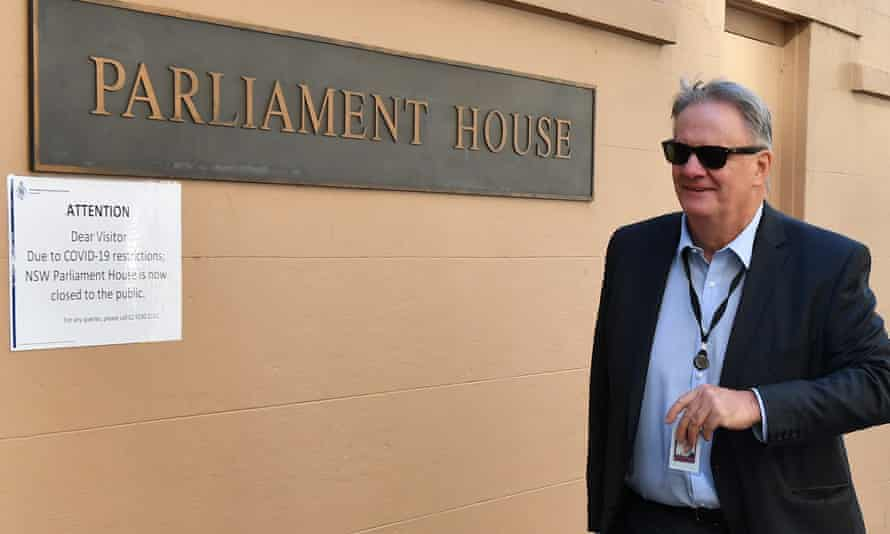Mark Latham outside the NSW parliament
